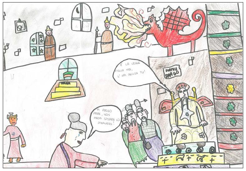 i bambini de la zolla disegnano le scene della Turandot