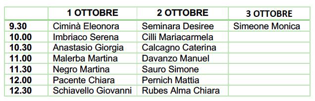 Servizio Civile La Zolla_calendario colloqui